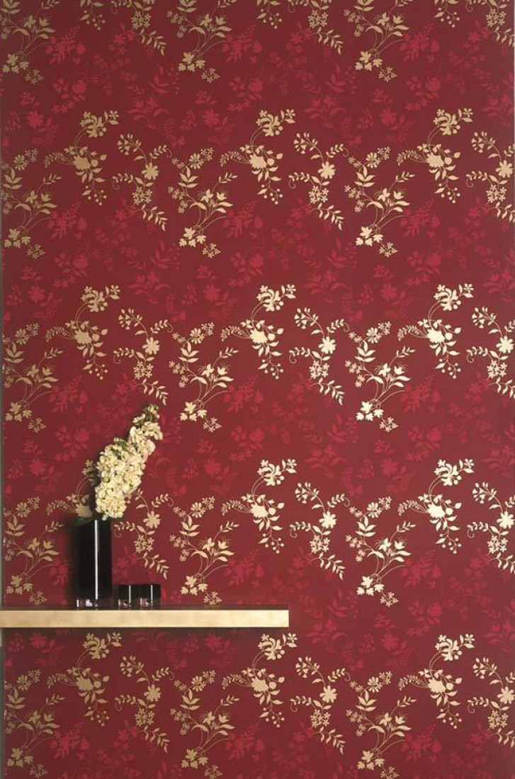 Wallpaper Minerva Shimmering Pattern Matt Base Surface Stylised Flowers Ruby Red Strawberry Gold Lustre Room View