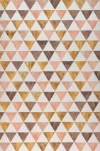 Papel de parede Masell Mate Triângulos Branco creme Vermelho bege Marrom Bege pardo