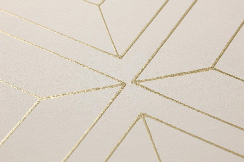 Papier Peint Malekid Blanc Cr Me Dor Papier Peint