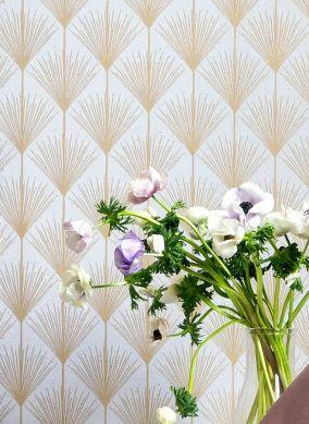 Papel pintado Mayfair oro perla Ver habitación